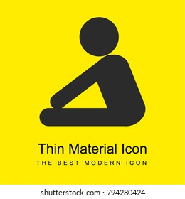 Yoga frontal flexion posture silhouette of side view bright yellow material minimal icon or logo design
