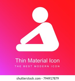 Yoga frontal flexion posture silhouette of side view red and pink gradient material white icon minimal design