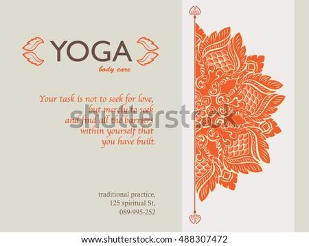 Yoga Gift Certificate Template Mandala Text Stock Vector (Royalty ...