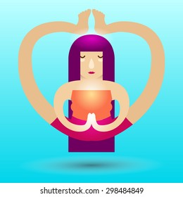 Yoga Girl. Girl levitating in yoga pose. Original Vector illustration. Logotype or concept illustration for yoga or healthy lifestyle studio.