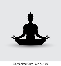 Yoga. A girl a in lotus pose. lotus position silhouette. Illustration vector