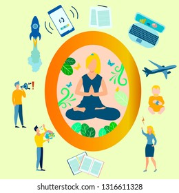 Yoga, the girl in the lotus position is closed from the problems. All the distractions are gone flat. In minimalist style. Cartoon Vector Illustration