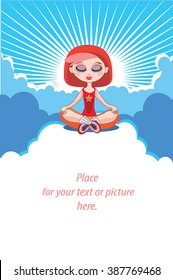 Yoga girl meditating in the sky vector - clouds and retro sunburst background. Buddhist girl practice on clouds. Cute red haired young woman. Self development banner, poster. Place for your text here.