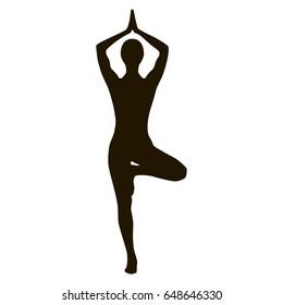 Yoga girl silhouette black and white tree pose asana