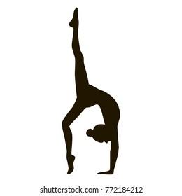 Yoga girl silhouette black and white pose asana