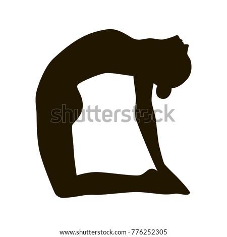 yoga girl silhouette black white camel stock vector