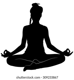 yoga girl sitting in Ardha Padmasana, half lotus posture, Siddhasana,  asana for meditation, breathing exercises