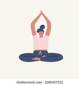 Yoga girl sitting in pose doing breathing exercise illustration in vector