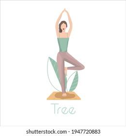 Yoga girl. Vector illustration. Green leaves. Sport, fintess drawing