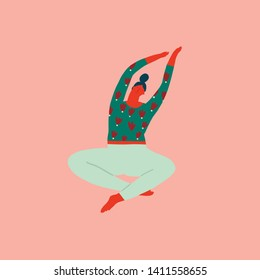 Yoga Girl is working out,  stretching, doing exercises in sitting pose. Cartoon trendy character in vector.
