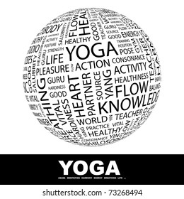 YOGA. Globe with different association terms. Wordcloud vector illustration.
