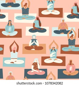 Yoga group with people meditating and doing breathing exercise seamless pattern in vector.