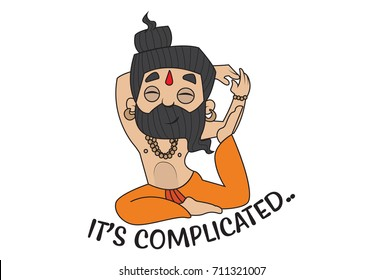 Yoga Guru Baba Ram dev saying It's Complicated. Vector Illustration. isolated on white background.