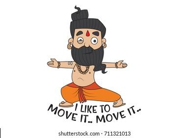 Yoga Guru Baba Ram dev saying Lets go. Move it. Vector Illustration. isolated on white background.