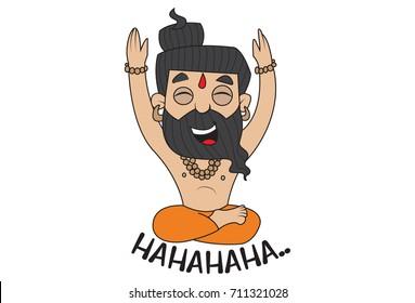 Yoga Guru Baba Ram dev laughing. Vector Illustration. isolated on white background.