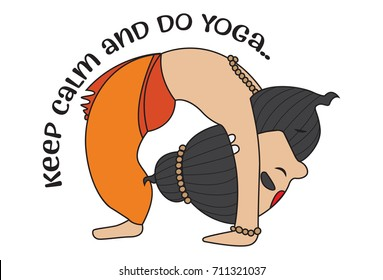 Yoga Guru Baba Ram dev saying keep Calm and DO Yoga . Vector Illustration. isolated on white background.