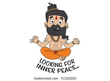 Yoga Guru Baba Ram dev Looking for Inner Peace. Vector Illustration. isolated on white background.