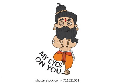 Yoga Guru Baba Ram dev . Vector Illustration. isolated on white background.