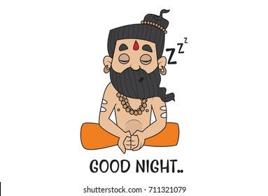 Yoga Guru Baba Ram dev saying Goodnight. Vector Illustration. isolated on white background.