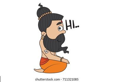 Yoga Guru Baba Ram dev saying Hi. Vector Illustration. isolated on white background.