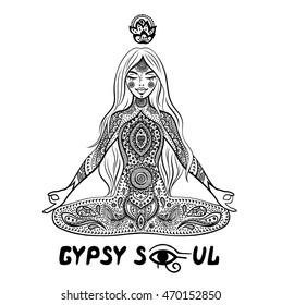 Yoga gypsy girl in a meditation with floral and ethnic mandala ornaments.