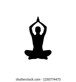 Yoga icon, logo on white background