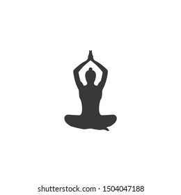 Yoga icon vector sign isolated on white background. Yoga symbol template color editable