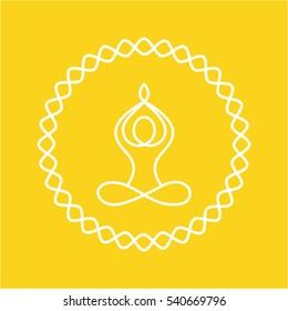 Yoga icon. Vector yoga woman logotype in line style. Outline design symbol.