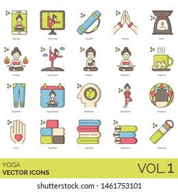 Yoga icons including app, online, mat, namaste, aroma, hot, retreat, buddha, meditation, ginger tea, pants, schedule, mindfulness, teacher, enneagram, tantra, block, towel, bolster, strap.