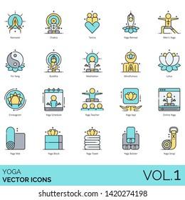 Yoga icons including namaste, chakra, tantra, retreat, men, yin yang, buddha, meditation, mindfulness, lotus, enneagram, schedule, teacher, app, online, mat, block, towel, bolster, strap.