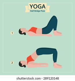 yoga illustration, half bridge pose, yoga exercise vector