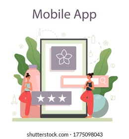 Yoga instructor online service or platform. Asana or exercise for men and women. Physical and mental health. Personal instructor mobile app. Isolated vector illustration