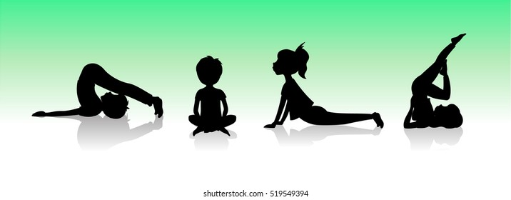 Yoga kids. Asanas poses silhouette