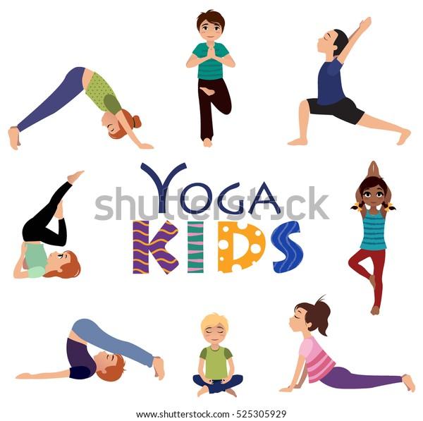 Yoga Kids Asanas Set Yoga Poses Stock Vector Royalty Free 525305929