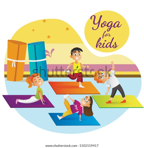 Yoga Kids Banner Cartoon Children Group Stock Vector Royalty Free 1502159417