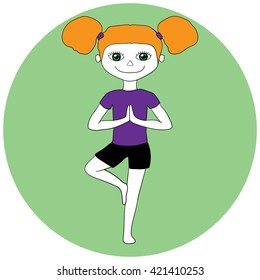 Yoga kids. Calm young girl standing in tree pose Vrikshasana isolated on mint background. Holding hands in Namaste. Vector cartoon illustration. Cute yoga girl.