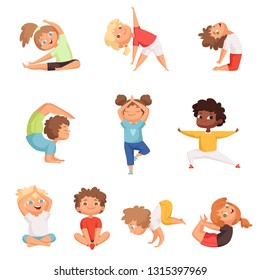 Yoga kids characters. Fitness sport childrens posing and making gymnastics yoga exercises vector illustrations