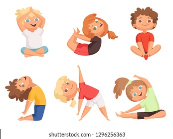 Yoga kids. Children making different yoga exercises young gymnastics vector characters