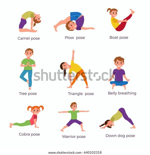 Yoga Kids Poses Set Cute Cartoon Stock Vector Royalty Free 640102318