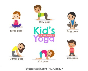 yoga kids poses vector cartoon illustration