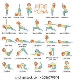 Yoga kids set. Gymnastics for children and healthy lifestyle. Vector illustration.