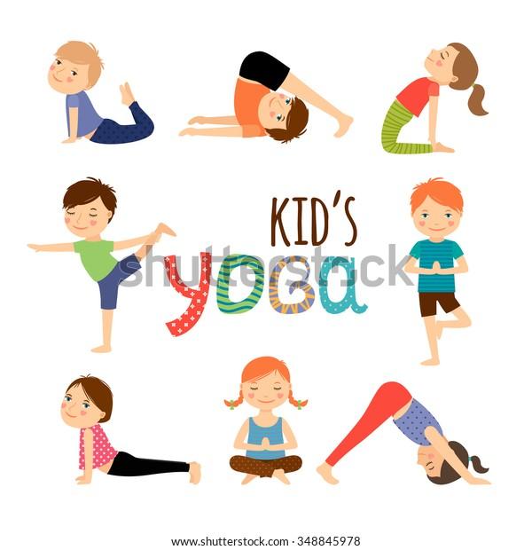 Yoga Kids Set Gymnastics Children Healthy Stock Vector Royalty Free 348845978