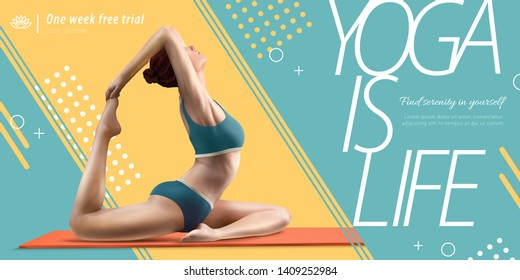 Yoga is life banner ads with woman practicing on yoga mat in 3d illustration
