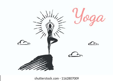 Yoga, lifestyle concept sketch. A woman is meditating on the top of the mountain at sunrise. Vector hand drawn illustration.