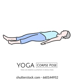 YOGA line drawing illustration, Corpse Pose - vector illustration graphic design