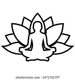 Yoga line icon, logo isolated on white background