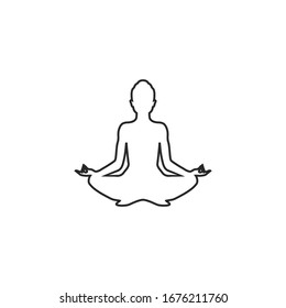 Yoga line icon. lotus position silhouette. Vector shape