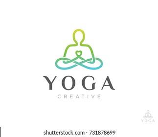yoga line logo icon vector template