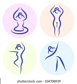 Yoga line silhouette set isolated on white