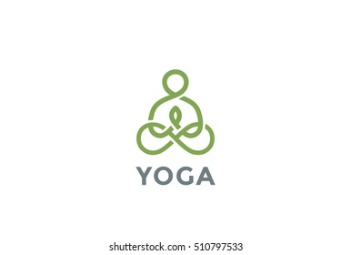 Yoga Logo abstract design vector template Linear style. Health Spa Meditation Harmony Logotype concept. Man in lotus pose icon.